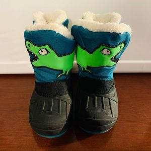 Cat & Jack Teal & Black Dinosaur Winter Snow Boots